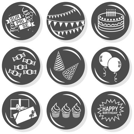 party time celebration cake gifts hats balloons flat gray monochrome button set with shadow on white background  Vector