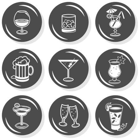 liquor: party time drinks alcohol champagne wine beer cognac whiskey flat gray monochrome button set with shadow on white background