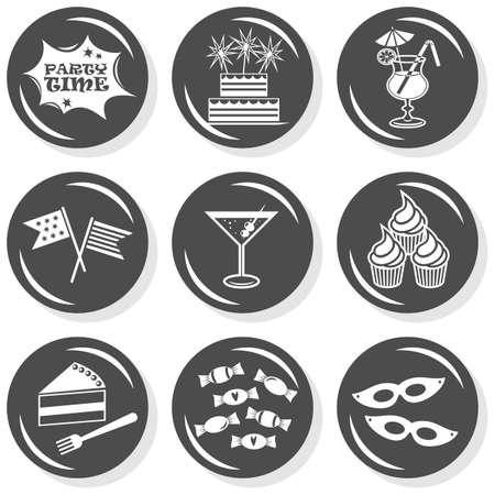 party time: c�l�brati g�teaux boissons drapeaux g�teaux bouton ensemble monochrome gris plat avec l'ombre sur fond blanc Illustration