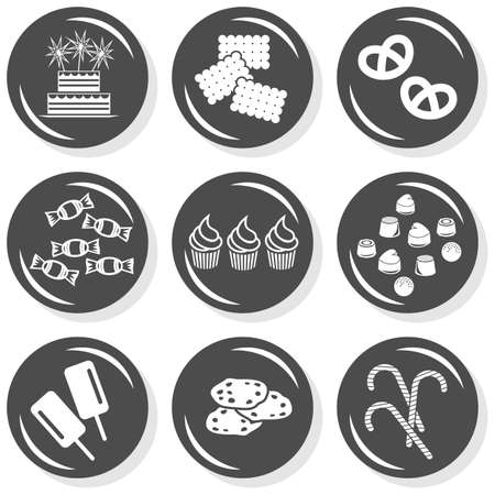 food cake biscuits cookies pretzels sweets cupcakes chocolates ice cream lollipops flat gray monochrome button set with shadow on white background  Vector
