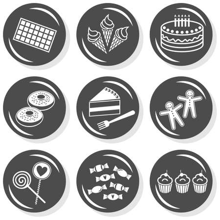 gingerbread cake: food dessert sweets chocolate ice cream cake donuts gingerbread lollipops cupcakes flat gray monochrome button set with shadow on white background  Illustration