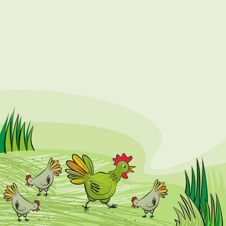 chicken farm green hens free run on sunny summer day animal wildlife illustration on green background  Vector