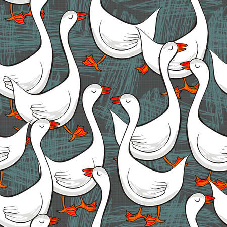 bird pattern: white gooses free run on sunny summer day animal farm life illustration on dark gray messy background seamless pattern