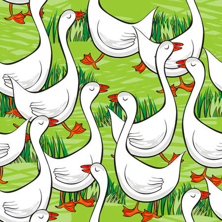 white gooses free run on sunny summer day animal farm life illustration on green messy background seamless pattern