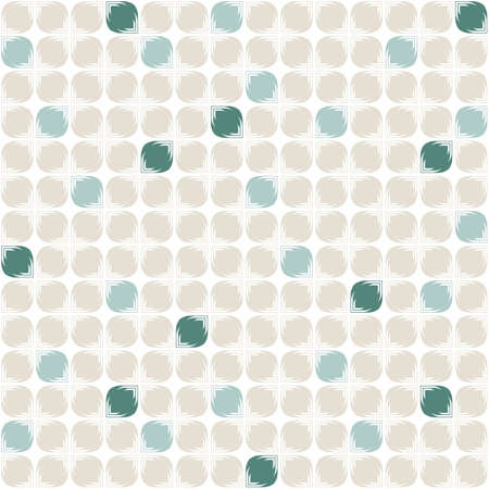 beige turquoise white leave shaped elements in regular rows on white background geometric retro seamless pattern  Vector