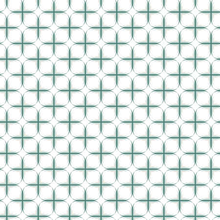 beige turquoise white cross shaped joined elements in regular rows on white background geometric retro seamless pattern  Vector