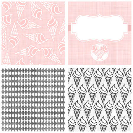 Ice cream in horns dessert monochrome white pink and gray graphic sweet seamless pattern set  Vector