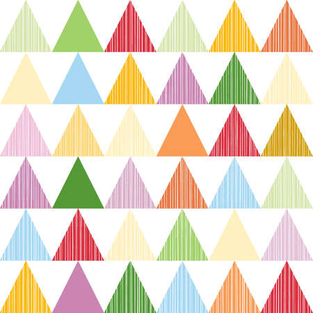 Colorful triangles in horizontal rows geometric seamless pattern  Vector
