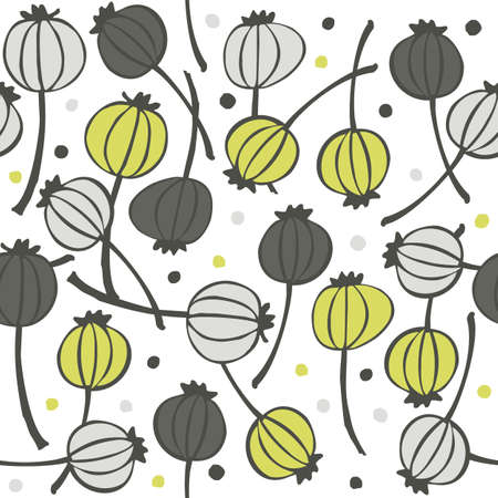green gray messy poppy seed fruit pattern with seeds doodle seamless pattern on white background  Vector