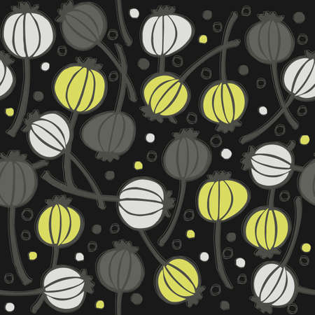 green gray messy poppy seed fruit pattern with seeds doodle seamless pattern on dark background  Vector
