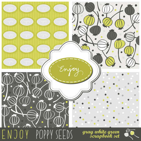 green gray messy floral dotted typographic seamless pattern set with poppy seeds and two frames your scrapbook library  Vector