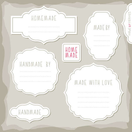 scrapbook homemade: homemade made with love simple white vintage labels with border and shadow and place for your text vector set