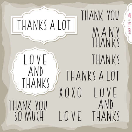 inscription: love and thanks hand drawn big letters grateful monochrome inscription set with two vintage frames on light background