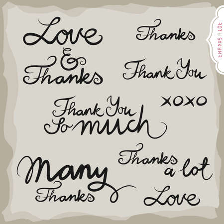 grateful: love and thanks hand drawn grateful monochrome inscription set on light background