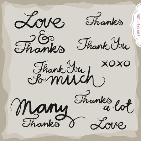 thanks a lot: love and thanks hand drawn grateful monochrome inscription set on light background