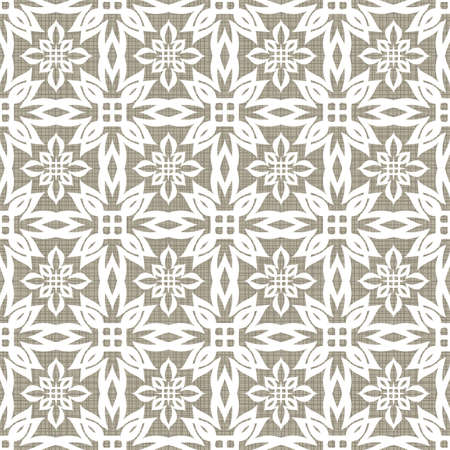 Retro white star floral shaped elements in rows on gray brown background abstract geometric seamless pattern  Vector