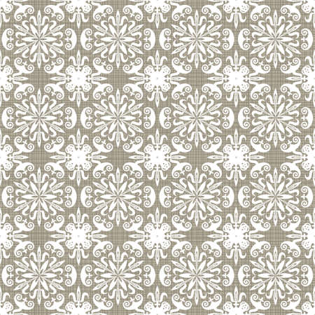 Retro white flower shaped elements in rows on gray brown background abstract geometric seamless pattern  Vector