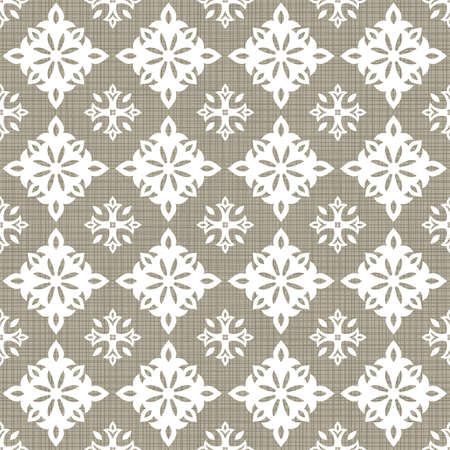 Retro white big small star shaped elements in rows on gray brown background abstract geometric seamless pattern  Vector