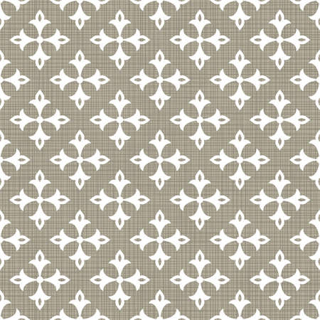 Retro white four armed simple star floral shaped elements in rows on gray brown background abstract geometric seamless pattern  Vector