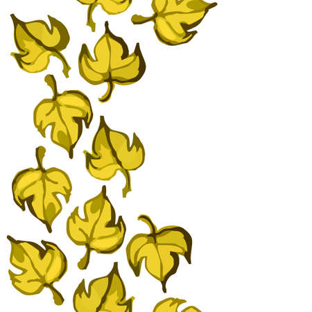 side border: yellow brown messy leaves on white background abstract botanical seamless side border