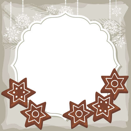 sweet star shaped gingerbread on vintage frame Christmas winter holidays background with place for your text  Vector