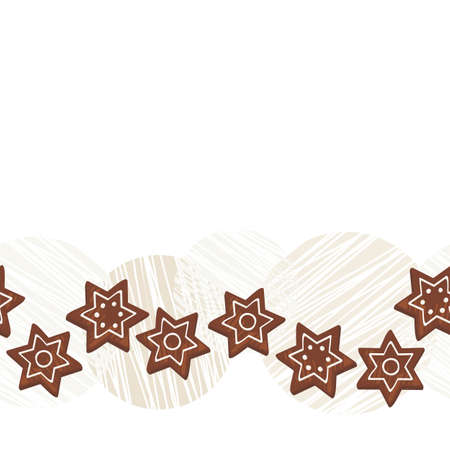 sweet star shaped gingerbread cookies on messy light scratches seamless horizontal border on white background  Vector