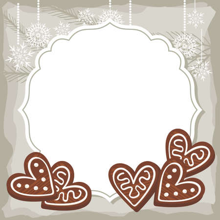 sweet heart shaped gingerbread on vintage frame Christmas winter holidays Vector