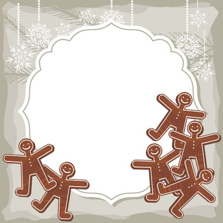 sweet people shaped gingerbread on vintage frame Christmas winter holidays Vector