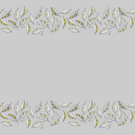 green gray messy leaves on windy day abstract botanical horizontal border on light gray background with blank place for your text  Vector