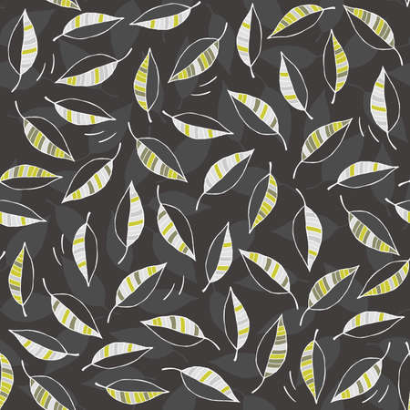 windy day: green gray white messy leaves on windy day botanical seamless pattern on dark background  Illustration