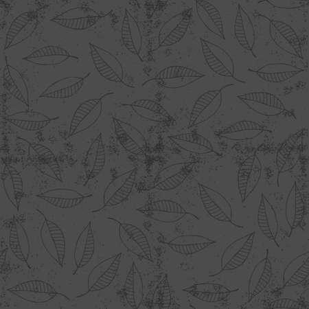 windy day: dark gray messy border leaves on windy day botanical seamless pattern on dark grunge background  Illustration