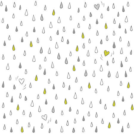 downpour: little hearts lost in the rain romantic lovely seasonal abstract seamless pattern on white background  Illustration
