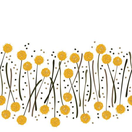 billy: messy billy balls craspedia beautiful yellow flowers on white background with little dots botanical seamless horizontal border
