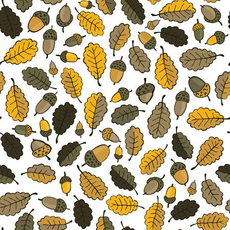 messy brown yellow oak leaves and acorns on white background beautiful botanical seamless pattern  Vector