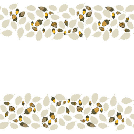 messy brown yellow oak leaves and acorns on white background beautiful botanical seamless double horizontal border  Vector