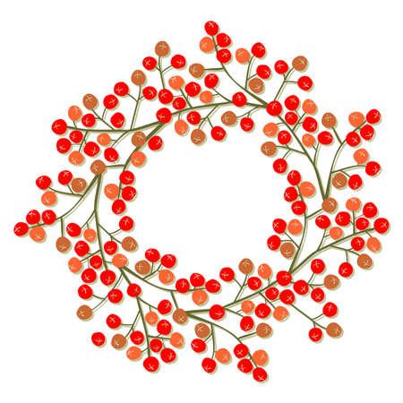 decoratio: messy red orange rowan berry mountain ash berries beautiful decoratio wreath delicate autumn season illustration on white background