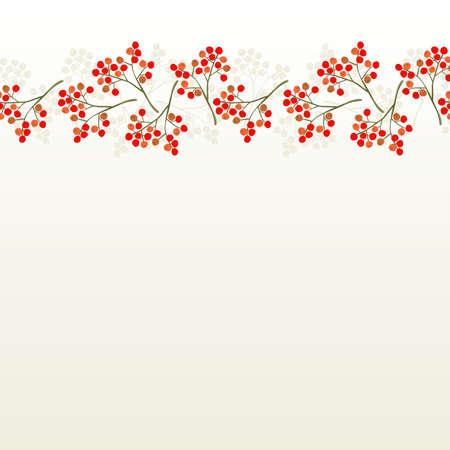 messy red orange rowan berry mountain ash berries beautiful delicate autumn season seamless top horizontal border on white background