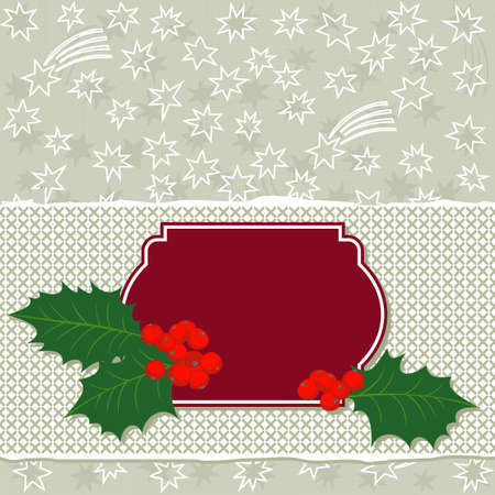 white gray many messy little stars beautiful holiday seamless pattern on light background with torn paper and and red frame with green holly leaves and red berries  Vector