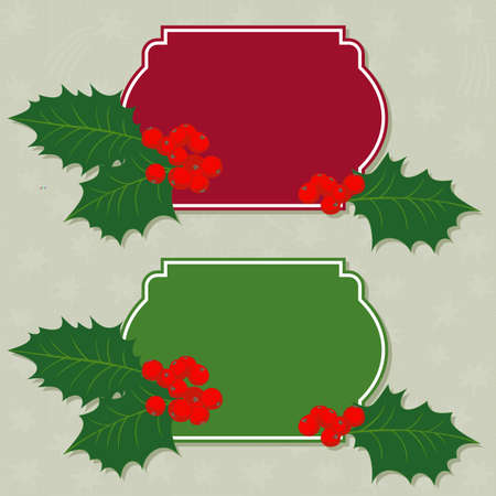 red and green frame with green holly leaves and red berries on delicate gray messy little stars holiday seamless pattern on light background  Vector
