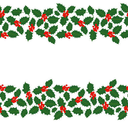 Merry Christmas messy holly leaves and berries winter holidays double seamless horizontal border on white background