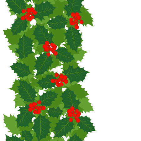 green holly leaves and red berries on white background Christmas winter holiday seamless vertical border  Vector