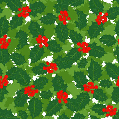 green holly leaves and red berries on white green messy background Christmas winter holiday seamless pattern  Vector