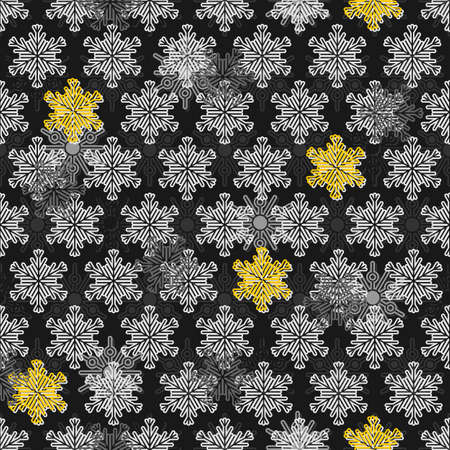light and dark gray white and yellow different snowflakes in messy rows winter seasonal seamless pattern on dark background  Vector