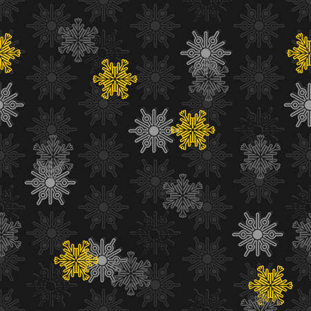 falling light and dark gray and yellow different snowflakes winter seasonal seamless pattern on dark background  Illustration