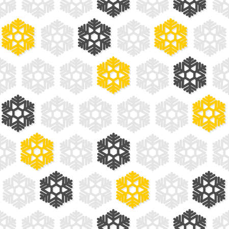 light and dark gray and yellow snowflakes in regular rows winter seasonal seamless pattern on white background  Vector