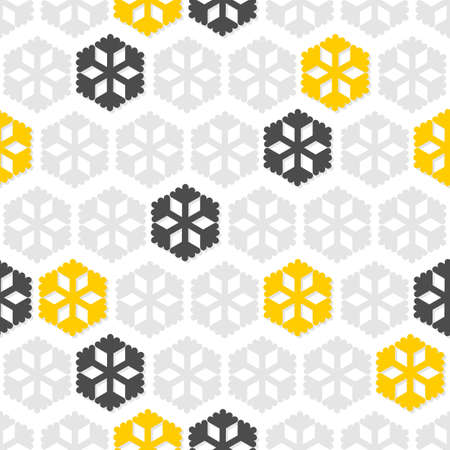 light and dark gray and yellow star snowflakes in regular rows winter seasonal seamless pattern on white background  Vector