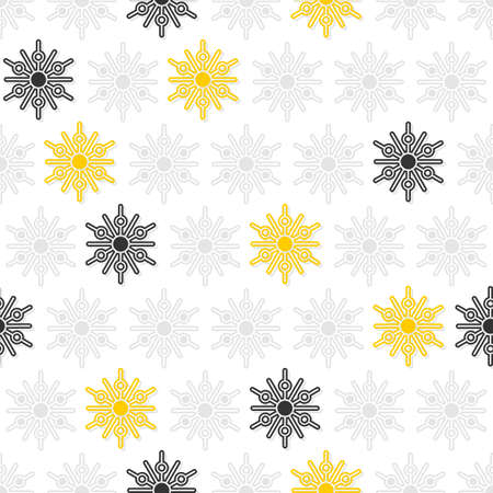 light and dark gray and yellow little dots snowflakes in regular rows winter seasonal seamless pattern on white background  Vector