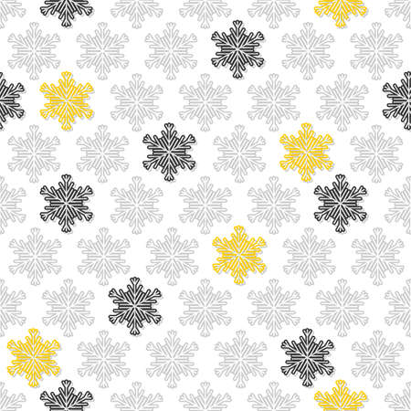 light and dark gray and yellow line snowflakes in regular rows winter seasonal seamless pattern on white background  Vector
