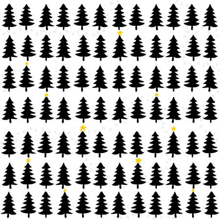 black white yellow Christmas trees in forrest winter holidays seamless pattern on white background  Vector