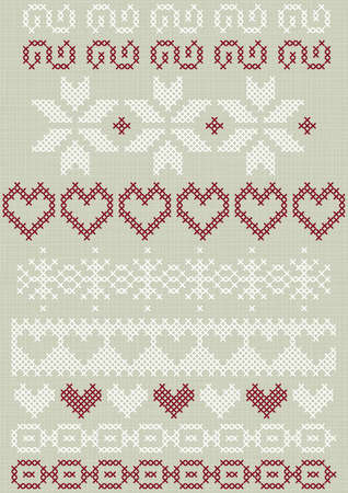 embroidered: Christmas Valentine s Day winter holidays stitched embroidered white red gray border decorative elements set on light background  Illustration